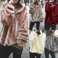 Women Teddy Bear Fleece Sweater Winter Warm Long Sleeve Hoodie Jumper Outwear US