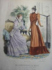 """67/ GRAVURE DE MODE """" Moniteur de la Mode Paris 1891 """".   Grand format 36x26"""