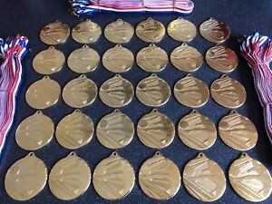30x Junior Football Medals - Gold Metal With Ribbons