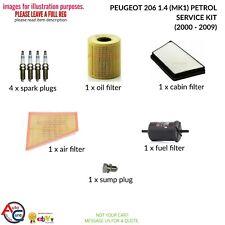 SERVICE KIT for PEUGEOT 206 1.4 16V PETROL OIL FILTER PLUGS 2003-2007