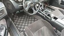 P2M RACE FLOOR CARPET MATS FOR 95-98 NISSAN 240SX S14 - DARK GREY+BLACK PHASE 2