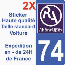Sticker autocollant vinyle Immatriculation département 74 Région Rhône Alpes HQ