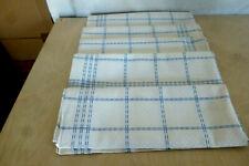 5  alte Leinen Geschirr Handtücher blaue Streifen  KARO Würfelmuster  um 1930