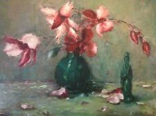 Painting By E. Holland ? Still life Oil Flowers, jade statue