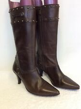 NEXT BROWN LEATHER STUD TRIM CALF LENGTH BOOTS SIZE 5/38