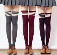 Women Lady College style Stripe Stripy Striped Over The Knee Thigh High Stocking