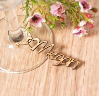 Personalised Engraved Names - Wooden Nametag Charms - Wedding Table Celebrations