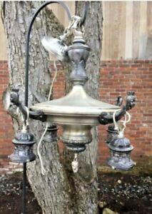 "Antique 1930's ""Pan"" Style Hanging Chandelier Light Fixture Silver-Tone w/ Faces"