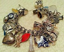 "Loaded Vintage Sterling Silver Charm Bracelet & 27 Charms, 90gr, 7.5""Tiffany, NY"