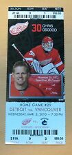 Red Wings Chris Osgood ticket stub Mar 3, 2010 - $58 Face Value