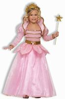 Girls Pink Rose Princess Costume Long Sleeve Fancy Dress Gown Child Kids S M L