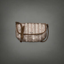 NWT Abercrombie Gold Sequenced Crossbody bag purse brown