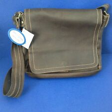 David King Brown All Leather Flap Messenger Laptop Mens Bag Briefcase~NEW