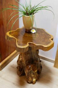 Wood Side Table Tree Pane Teakwood Table Root Wood Rustic Living Room New