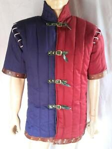 Thick Padded medieval armor armour Gambeson -Leather Pipin on border Smart Look