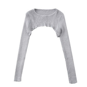 Women Long Sleeve Knitted Crop Top Thin Solid Short Pullover Sweater Jumper Chic