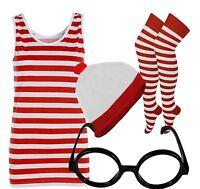 Red And White Striped Ladies T-Shirt Vest Hat Nerd Glass Socks Fancy Dress lot