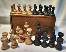 Romo Cutlery Chess Pieces Vtg Wood Carved 32 Antique Wooden Chess Pieces W/ Box