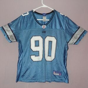 Reebok NFL Jersey Lions Ndamukong Suh 90 Blue Size Large Youth