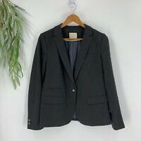 Ann Taylor Loft Womens Size 10 One Button Blazer Suit Jacket Career Dark Gray