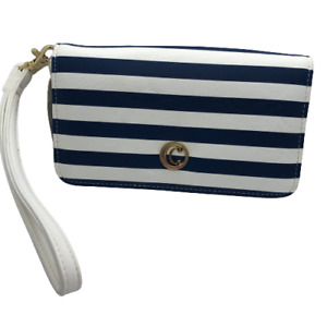 Charming Charlie Blue & White Striped Nautical Look Wristlet / Small Purse NWT