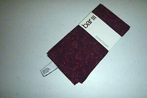 Bar III mens designer silk / cotton kit pocket square handkerchief -maroon