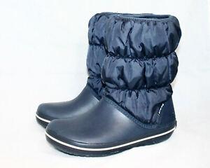 CROCS Winter Puff Boot 14614 Women 6 Navy Blue Pull On