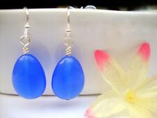 Blue SAPPHIRE Glass Teardrop Silver Dangle Earrings BAD APPLE DESIGNS