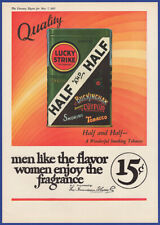 Vintage 1927 LUCKY STRIKE HALF AND HALF Tobacco Smoking 20's Ephemera Print Ad