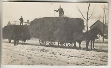 VINTAGE RPPC - HAY CUT AND STORED ON BLACK RIVER FLAT - CROGHAN NY - MEN ID
