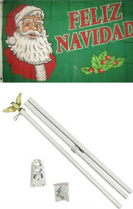 3x5 Merry Christmas Feliz Navidad Flag White Pole Kit Set 3'x5'