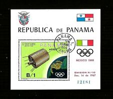 "FRANCOBOLLI PANAMA 1969 ""SPAZIO OLIMPIADI BANDIERE"" USED BLOCK"