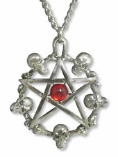 Real Metal Jewelry	Skulls Around Pentagram w Red Cabochon Necklace