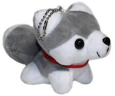 "6"" Smiling Husky Puppy Plush Stuffed Animal Toy Keychain, Mini Hanging Dog Doll"