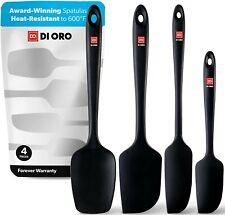DI ORO Seamless Series 4-Piece Silicone Spatula Set - 600°F 4-Piece Set Black