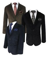 Boys Kids Corduroy Velvet Blazer Jackets Black Navy Blue Brown Formal Dinner