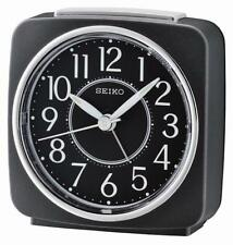 Seiko QHE140K Quiet Sweep Second Hand Beep Alarm Clock with Light,Snooze - Black