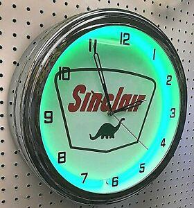 "16"" Sinclair Dinosaur Logo Sign Green Neon Clock Garage Man Cave"