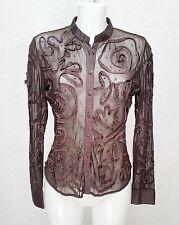 Per Una M&S Brown fine mesh fishnet Mandarin collar body fitted shirt blouse 10