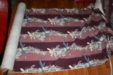 New listing 13 Yards Vintage Original Bark Cloth on bolt Ribbons Floral dusty pink mauve