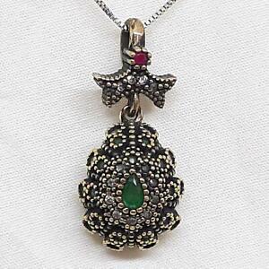 Deco 1.00ctw Emerald, Ruby & Diamond Cut Sapphire 14K Yellow Gold Silver Pendant
