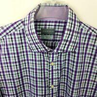 Thomas Dean Shirt Mens  XXL 2XL Plaid Button Down Multi-Color Long Sleeve Purple