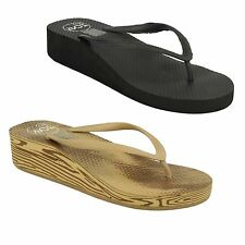 LADIES SPOT ON TOE POST SUMMER CASUAL FLIP FLOP WITH SMALL WEDGE HEEL F10273