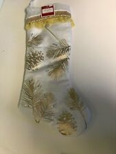 NWT Off White Golden Pinecone Christmas Stocking Satin Holiday Time Target