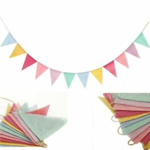 4M Colorful Jute Linen Flags Pennant Birthday Bunting Banners Wall Hanging Weddi