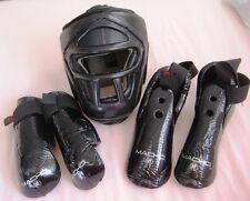Protective Karate Headgear,Hand,Foot Macho Warrior Sparring Gear set-Black Sze S