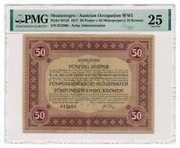 MONTENEGRO (AUTRIA OCCUPATION) banknote 50 Perpera 1917 PMG VF 25