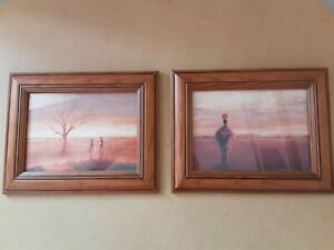 Pair of Tony Hudson African Framed Pictures, Ethnic Boho