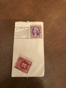 Violet Used Washington 3 Cent Stamp with a Red 3 Cent Postage Due stamp