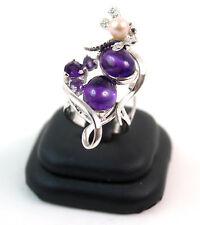 Anello in ametista naturale e libellula con perla coltivata in argento